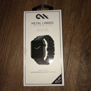 Unisex Black Metal Linked Apple Watch Band